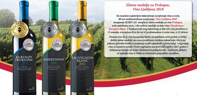 GOLDEN MEDAL FOR SERBIAN WINES AT THE OLDEST WINE SELECTION IN THE WORLD – VINO LJUBLJANA 2018
